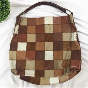 Lucky Brand leather patchwork shoulder bag purse